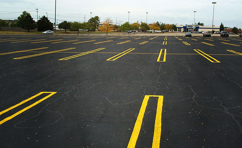 Perfect lines applied to parking lot by our experienced stripers